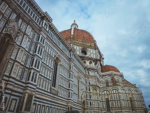 Beautiful low angle shot of Cathedral of Santa Maria del Fiore in Florence Italy