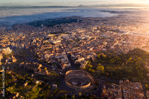 Aerial of the Colosseum in Rome, Italy - 331812767