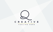 Abstract Monogram Letter Q Logo Icon Design. Minimalist Q QQ Creative Initial Based Vector Template.