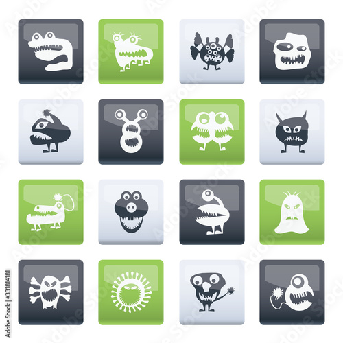 various abstract monsters illustration over color background - vector icon set Canvas Print