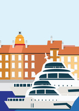 Flat Illustration. Awesome City View In Sunny Day On Mediteranian  House, Saint Tropez Harbour. Enjoy The Travel. Around The World. Quality Vector Poster. France.