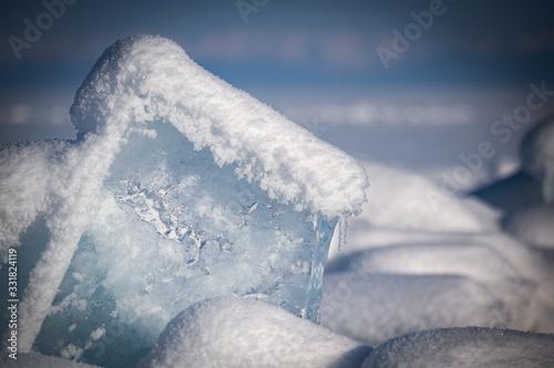 Photo Baikal lake by winter in Siberia