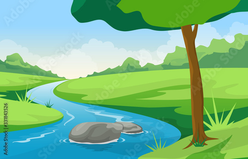 Fototapeta Winding River Mountain Forest Beautiful Rural Nature Landscape Illustration obraz