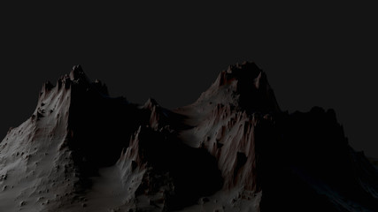 Dark landscape with mountains