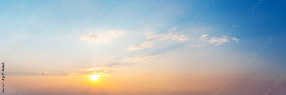 Fototapeta Panorama of Dramatic vibrant color with beautiful cloud of sunrise and sunset. Panoramic image.