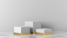Minimal Luxury White Design Square Box With Gold Pedestal Podium In White Marble Concrete Wall Background. Concept Display Scene Stage Platform Showcase, Product, Sale, Banner, Cosmetic. 3D Render