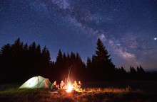Night Camping Near Bright Fire...
