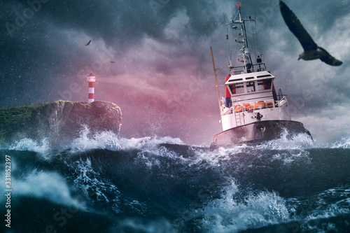 Fototapeta Schiff  Sturm Lechtturm Meer