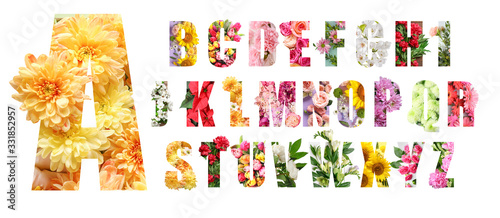 English alphabet letters with beautiful flowers on white background