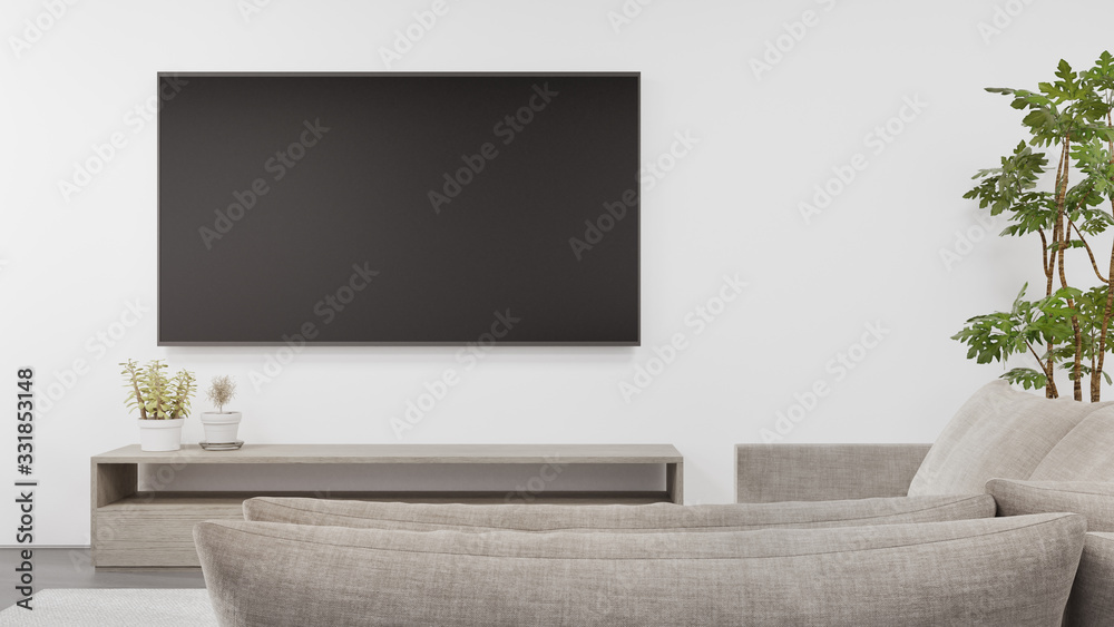 Fototapeta TV stand on concrete floor of bright living room and sofa against television in modern house or apartment. Minimal home interior 3d rendering.