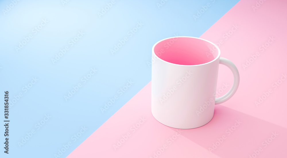Fototapeta Classic white mug and pink inside on pastel summer background with blank template mockup style. Empty cup or drink mug. 3D rendering.