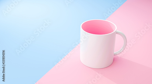 Obraz Classic white mug and pink inside on pastel summer background with blank template mockup style. Empty cup or drink mug. 3D rendering. - fototapety do salonu