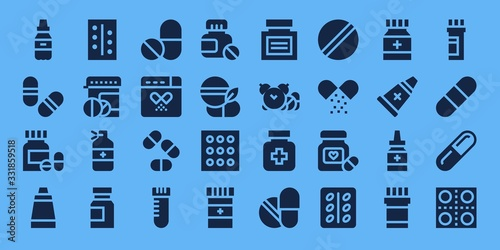 Modern Simple Set of aspirin Vector filled Icons Canvas Print