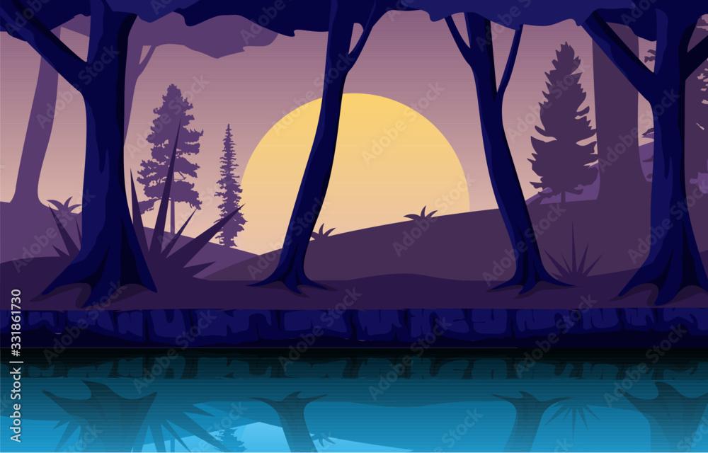 Fototapeta River Night Dusk Evening Full Moon Forest Landscape Illustration