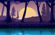 River Night Dusk Evening Full Moon Forest Landscape Illustration