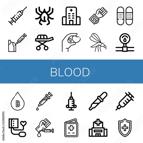 blood simple icons set Canvas Print
