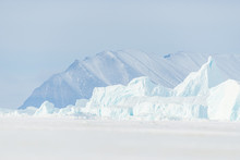 Ice Bergs On Frozen Sea In Fro...