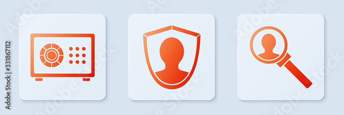 Set User protection, Safe and Magnifying glass for search Wallpaper Mural