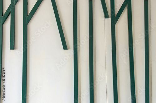 Photo Line art of green metal lathes on white floor