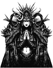 A Beautiful Female Occultist Looks Ominously At The Viewer, She Is Dressed In A Highly Detailed Costume With Many Mystical Elements, Her Palms Are Folded In Prayer. 2d Illustration