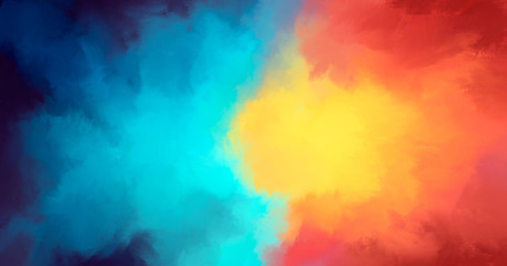Abstract background with nice soft colors yellow blue red purple that compete with each other in the center. 2D illustration