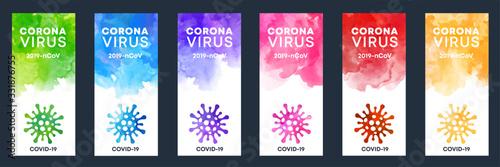 Fototapeta Set of coronavirus shape banner labels with watercolor background obraz na płótnie