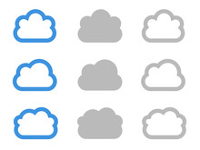 Clouds Icons, Blue Air Sky Ill...