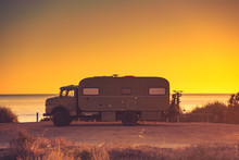 Camper Car On Beach, Camping O...