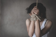 Hands Tied Up With Rope Of A M...