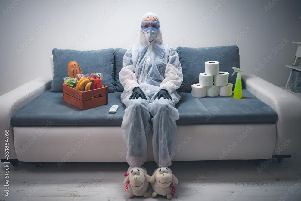 Fototapeta Home quarantine and isolation during the virus outbreak.