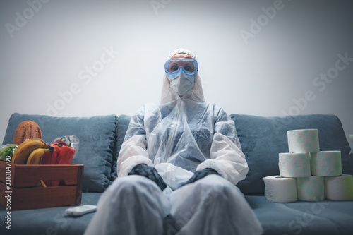 Obraz Home quarantine and isolation during the virus outbreak. - fototapety do salonu