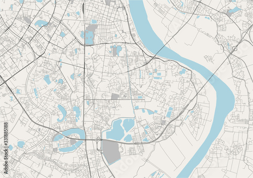 map of the city of Hanoi, Vietnam Wallpaper Mural