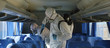 canvas print picture - HazMat team in protective suits decontaminating public transport tourist bus interior during virus outbreak