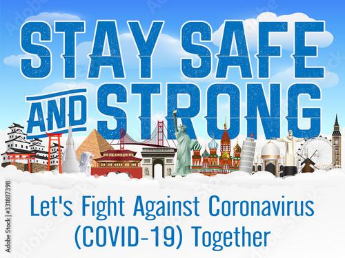 Fototapeta stay safe and strong fight coronavirus together obraz