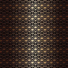 Art Deco Seamless Pattern In Gold Color On An Isolated Black Background Or Gold Exclusive Background. EPS 10 Vector.