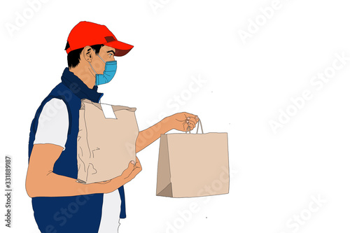 Fotomural food delivery man Wearing Medical Mask. Corona Virus Concept