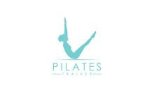 Sitting Pilates Woman Silhouette Logo
