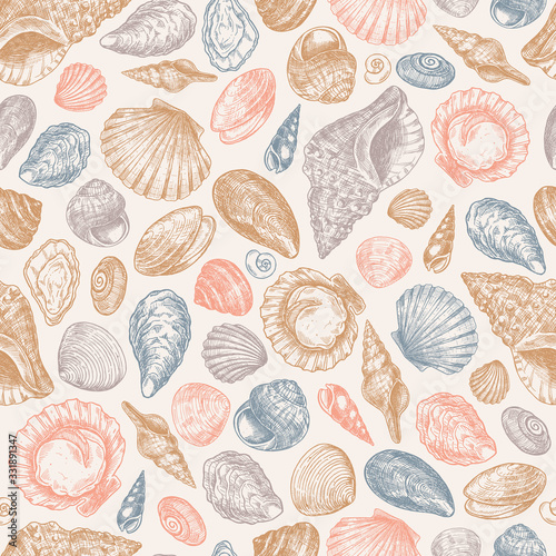 Seashell colored vintage seamless pattern Fototapet