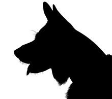 Shepherd Dog Silhouette Vector...