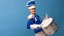 Drummer In A Blue Uniform Drum...