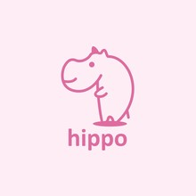 Hippopotamus Pink Logo Design ...