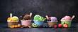 Leinwandbild Motiv Various colorful ice cream in paper cup