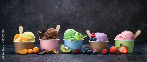 Fototapeta Various colorful ice cream in paper cup
