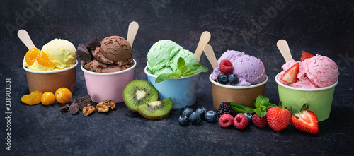 Fotografia, Obraz Various colorful ice cream in paper cup