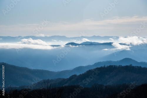 Foggy Mountain Morning views of Appalachian Trail