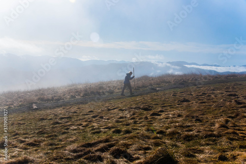 Photo Hiker on the Appalachian Trail fog