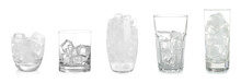 Set Of Different Glasses With Ice Cubes On White Background