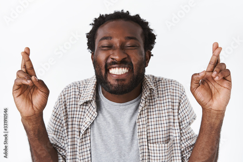 Enthusiastic and upbeat, happy hopeful african-american guy cant wait wish come Canvas Print