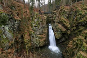 Wilczki waterfall in the Sudety mountains, Poland