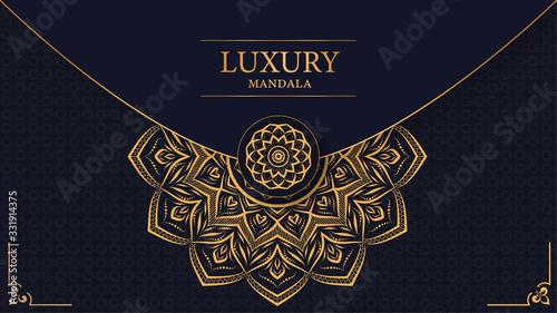 Canvastavla Luxury mandala with royal golden arabesque arabic islamic east style background